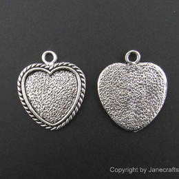 Wholesale Silver Cabochon Trays - Heart Antique Silver Tone Zinc Alloy Cabochon Setting Inner 25mm Double-Sided Blank Tray Setting for Photo Charm Pendant 20pcs
