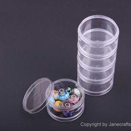 2019 boîtes de rangement en plastique compartiments réglables 5 Compartiment Niveau 4.9 * 12.7cm Rond Transparent En Plastique Boîte De Rangement Bijoux Cosmétique Boîtes Cas Réglable Conteneur Organisateur promotion boîtes de rangement en plastique compartiments réglables
