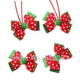 "Wholesale Swiss Dot Lace - Mini 2"" Double Layers Red Green Swiss Dot Hairbow Clips Hair Ties Baby Girl Christmas Outfit Accessory Fashion Style"