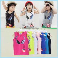 Wholesale Kid Girls Fashion Tops - Fashion Cheap Tank Tops Kids Tshirts Child Boy Girl Summer Tank Tops Children Clothes Children Tank Tops Kids Condole Belt Child Clothing