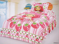 Wholesale Christmas Red Duvets - Shortcake Strawberry Single Bed Girl Cartoon Duvet Cover 3pcs set printed Children Bedding Set Christmas Gifts