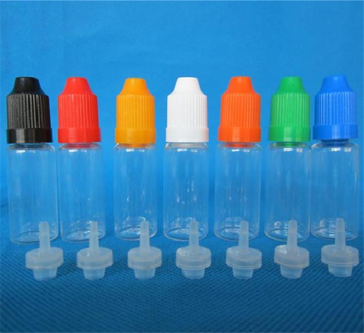 Främjande av högkvalitativ plast Eliquid-flaska 5ml 10ml 20ml 30ml PET Barnsäkra flaskor Långa och tunna tips Gratis DHL