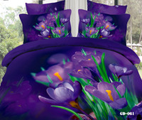 Wholesale Purple Comforter King Set - Charming Purple Bedding Sets 3D Comforter Set 100% Cotton Fabric Home Textiles 4 Pcs Duvet Cases Pillow Covers Flat Bed Sheet Bed In A Bag