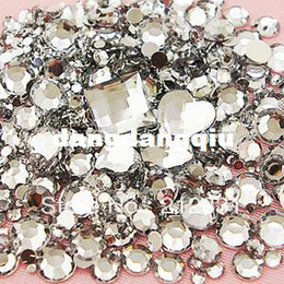 3d diy phone cases Promo Codes - Wholesale-Clear Mixed Size Shape Flat Back Rhinestone 1100PCS 3D Acrylic Flatback Rhinestones DIY Phone case Nail art design deco supplies