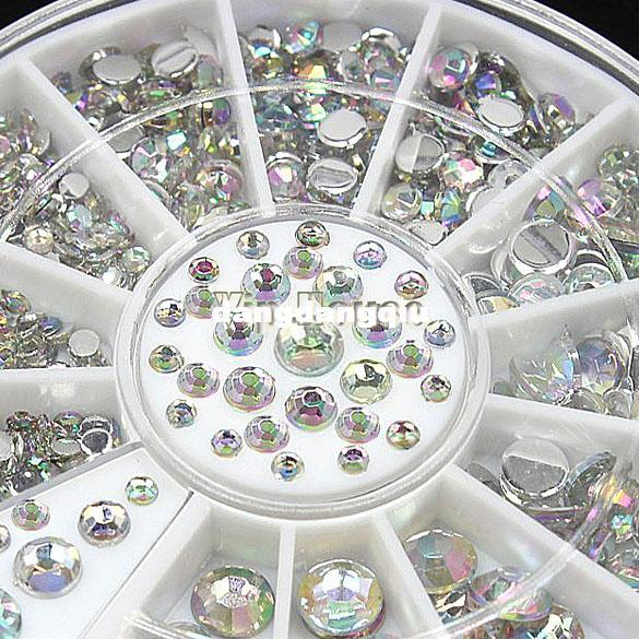 Gros-4 Taille 300pcs Nail Art Conseils Acrylique Cristal Glitter Strass Décoration Roue 3D Nail Art Décoration 19818 # 006
