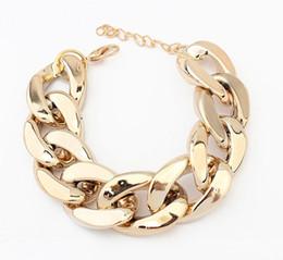Wholesale Chunky Gold Bracelets For Men - Fashion Christmas Gift Gold Chain Charm Chunky Bracelet For Women Men Jewelry Bracelets & Bangles S98637