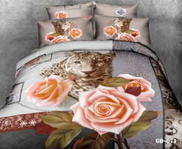 Wholesale Duvet Cover Super King Size - Hot 3D Bedding Sets Rose Leopard Comforter Set Cotton Fabric King Queen Super Size Duvet Cases Pillow Covers Flat Bed Sheet Bed In A Bag