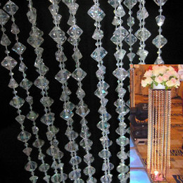 Wholesale Decor Bead Strands - 18m Roll Hanging Acrylic Crystal Garland Bead Strand Gem Centerpiece Large Gemstone Home&Wedding Chrismas DIY Decor Tree or Beaded Curtain