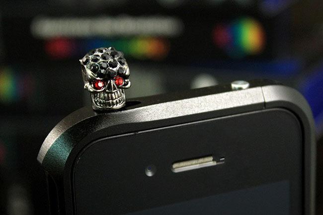Charm Toz Fiş Cep Telefonları için Kafatası Anti Toz Kapağı Kristal kulaklık jakı Iphone Samsung HTC iPad Toz Kapağı