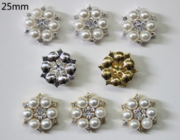 Wholesale Wholesale Pearls For Flowers - Free Shipping Wholesale 25mm Flatback Rhinestone Button For Hair Flower Wedding Invitation Pearl Button 40pcs lot BHP08022