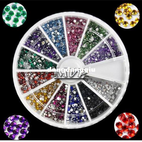 Wholesale-1MM 2000pcs 12 Colors Nail Art rhinestones Decoration For UV Gel Acrylic Systems 4056 F