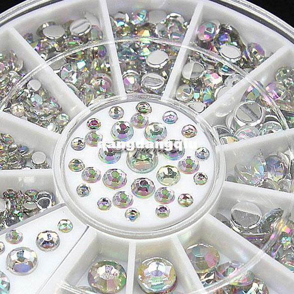 Wholesale-2015 New Fashion 6 Größen Bunte Nail Art Tips Crystal Glitter Strass Fushion Nail Art DIY Dekoration