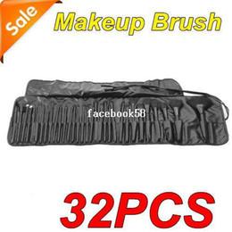 Cosmetic Pc Brush Set Bag NZ - 32 PCS Professional Makeup Cosmetic Brush set Kit + PU Leather Case Bag Free Shipping