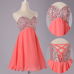Wholesale Sweetheart Neckline Ruffles Mini - Coral Chiffon 2015 Mini Elegant Sweetheart Neckline Homecoming Dresses Mini Party Prom Gown Lace-up Back With Sequins Beads Top and Ruffles