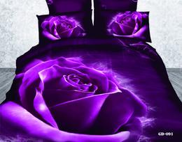 Wholesale Queen Duvet Cover Stock - 3D Purple Rose Bedding Sets Comforter Set 100% Cotton Fabric Duvet Cases Pillow Covers Flat Bed Sheet Bedding Supplies Cheap In Stock