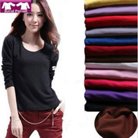 Frauen Casual Herbst-Winter Langarm Shirt mit Fleece innen Tops Korean Style Pullover Bluse 14017