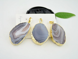 Wholesale Druzy Slice Pendant Gold - 5 pcs Gold plated Agate Gem Stone Slice in Natural color, Druzy Stone Pendants, Gemstone Pendant for Necklace