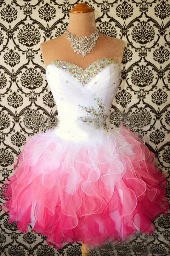 Homecoming Dresses 2017 Multi Color White and hot Pink Sweetheart Ball Gown Short Corset Party Dress Beads Crystal Ruffle Cheap Prom gown
