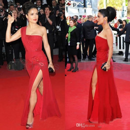Wholesale Globe Prom - 2015 Sexy One Shoulder Celebrity Dresses Red Side Slit Chiffon Golden Globe Red Carpet Dresses A Line Beads Prom Dresses Formal Gowns XX11