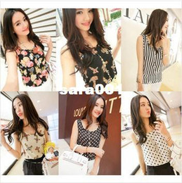 Wholesale New Style Girls Top S - S-XL New style Women camis Casual Chiffon Vest Top tee Tank girl lady Sleeveless T Shirt Blouse top