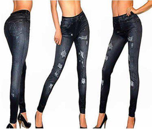 East Stickning B10 Lady Broken Holes Destroyed Jeans; s gratis frakt / grossist