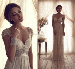 Wholesale Dresses Xx - High Quality 2014 Vintage Sheath Wedding Dresses Sheer Anna Campbell Lace Bridal Gowns Lace Backless Church Wedding Custom Beads Charming XX