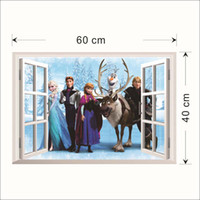Wholesale Window View Sticker - 2014 Elsa Anna PRINCESS 3D Window View Cartoon Decal WALL STICKER PVC Home Decor 45X60cm