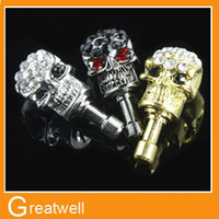 Wholesale Skull Dust Plug - Charm Dust Plugs for Cell Phones Skull Anti Dust Cover Crystal earphone jack For Iphone Samsung HTC iPad Dust Cover
