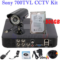 Wholesale Hard Disk Cctv System Hdd - CCTV security kit install home business video surveillance system 700TVL bullet outdoor camera 4ch D1 HD DVR 500GB HDD hard disk