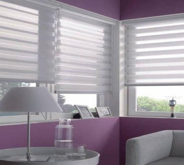 Translucent Roller Zebra Blinds In Light Grey Custom Size