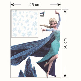 Wholesale Removable Wall Stickers Princess - New Arrival Snow Queen Elsa Princess Wall Decal Stickers Removable Kids Room Nursery Wall Decor 45x60cm