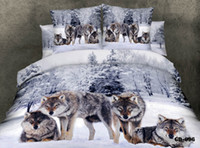 Hot selling High Quality Stock 100% Cotton 3D 4 pcs Bedroom Bedding Sets Duvet Quilt Cover Flat Fitted Bed Sheet Pillowcase Wolf in the Snowfield