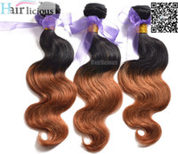 Wholesale Two Tone Colored Hair Extension - Hairlicious hair 6A mixed 3 4bundles 1b 30# ombre color two-tone color body wave virgin colored peruvian human hair weft extension
