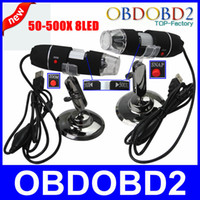 Wholesale usb camera software - New Promotion 50X-500X Microscope USB Digital Endoscope Black Measurement Software Manual 500X 2.0MP 8LEDs Magnifier Camera Free
