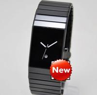 correas de relojes de cerámica para hombres. al por mayor-Nuevo diseño suizo de lujo de los hombres visten el reloj masculino Qaurtz Fashion Square Antique Negro Relojes de cerámica Reloj Casual para hombre Relojes deportivos