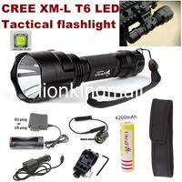 lanterna led usa venda por atacado-EUA Hot Sel CREE XM-L T6 LED Holofotes de Caça Tactical Lanterna lanterna + com montagem / interruptor Remoto / bateria / Carregador / Carregador de Carro / coldre
