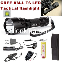 Wholesale USA EU Hot Sel CREE XM L T6 LED Spotlight Hunting Tactical Flashlight torch with mount Remote switch battery Charger Car Charger holster