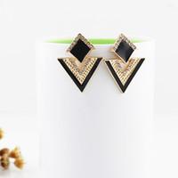 Wholesale Triangle Dangle Earrings Fashion - new style fashion triangle design enamel stud earring for women