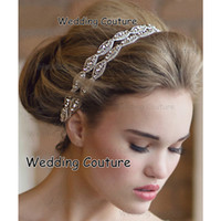 Wholesale Two Crystal Headbands - 2016 Free Shipping Rhinestone Bridal Headbands Two Row Crystal Ribbon Tie Backs Prom Party Hair Accessory Real Photo