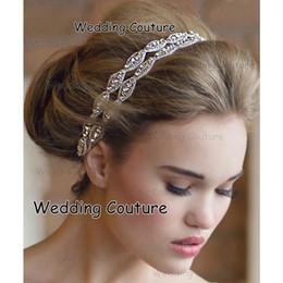 2016 Livraison Gratuite Strass Mariée Bandeaux Deux Rangée En Cristal De Ruban Cravate Dos Prom Party Accessoire De Cheveux Real Photo ? partir de fabricateur