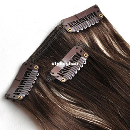 Wholesale Real Brown Hair Extensions - Wholesale-Free Shipping 100% real Human Hair Clip in Extensions 18'' 70g 7Pcs Set #4 medium brown