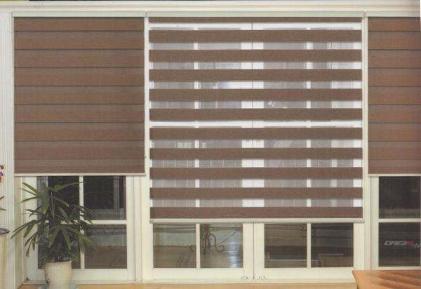 Translucent Roller Zebra Blinds in Dark Brown Curtains for Living