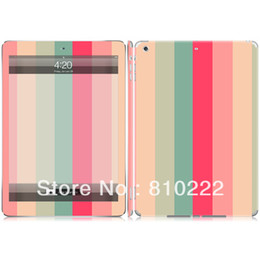 Wholesale Tablet Case Stickers - Wholesale-Vinyl Decal Skin Sticker Full Body Cover Case for Ipad Air Tablet Decal -0173 Colorful Stripes