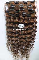 Wholesale Ash Brown Extensions - Wholesale-Free Shipping Indian120g 7pcs Deep Virgin REMY Clip In Curly Human Hair Extension #8 Light Ash Brown