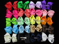 Wholesale Claw Clips For Hair - boutique hair bows baby girls hair clips christmas bows 6'' big ribbon bows kids hair accessories for hair-50pcs HJ008+5.5cm