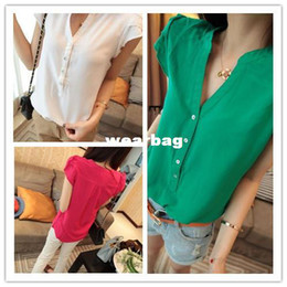 Wholesale White Silk Blouses Wholesale - Wholesale-New 2014 Hot Sale Fashion Women Imitated Silk Fabric Short Sleeve T-Shirt Solid Color Chiffon Blouse Tops Shirt WF-085