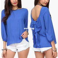 Wholesale Shirts Flouncing - Wholesale-New Womens Spring Summer Crew Neck 3 4 Sleeve Tees Loose Back Bow Flouncing Chiffon Shirts Top 5 Colors Drop Shipping J6990