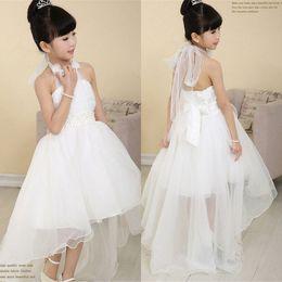 Wholesale Little Princess Dresses Free Shipping - 2014 Hot White Halter High-Low Organza Flower Girls Dresses Free Shipping Princess Little Girl Dress Custom Made