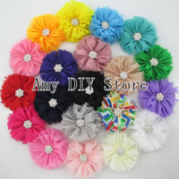Wholesale Bow Tie Styles For Girls - 2014 NEW style Ballerina flowers,Shabby Chiffon Flowers,hair Flowers for hair ties Headband corsage girls hair accessories-50pcs HH025+GZ010