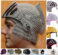 Wholesale Military Helmet Mask - Family Hats Novelty Roman Knight Helmet Caps Handmade Knit Warm Winter Mask Hats Father and Kid Party Mask Beanies hight quality free ship